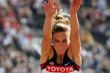 Grace Upshaw of the US in the Long Jump qualifying round (Getty Images)