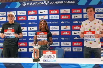 Mondo Duplantis, Sha'Carri Richardson and Jakob Ingebrigtsen at the press conference ahead of the Wanda Diamond League meeting in Gateshead (Matt Quine)