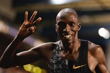 Timothy Cheruiyot at the IAAF Diamond League final in Brussels after winning a third consecutive Diamond trophy at 1500m (AFP / Getty Images)