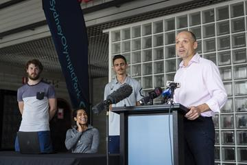 President of Athletics Australia Mark Arbib at the air quality device launch in Sydney (Getty Images)