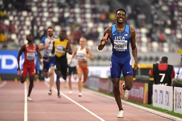 Michael Cherry anchors a USA quartet to a world record in the mixed 4x400m relay at the IAAF World Athletics Championships Doha 2019 (AFP/Getty Images)
