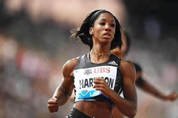 Kendra Harrison in action at the IAAF Diamond League meeting in Lausanne (AFP / Getty Images)