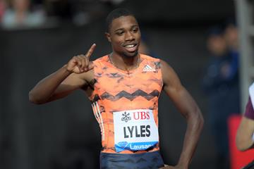 Noah Lyles after his 19.69 win in Lausanne (Gladys Chai von der Laage)