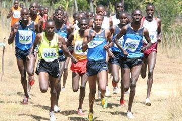 Race winner Abrahaham Chebii (left) in a star-studded men's 12km field, that includes Saif Saaeed Shaheen, Daniel Kipchirchir Komen, Haron Keitany and Asbel Kiprop, at the Sixth Athletics Kenya Cross Country Series meet in Eldoret (Elias Makori)
