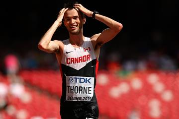 Canada's Ben Thorne takes the bronze medal in the 20km race walk at the IAAF World Championships Beijing 2015 (Getty Images)