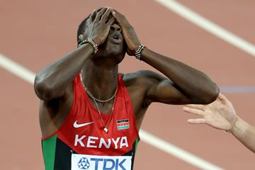 Nicholas Bett after winning gold in the 400m hurdles at the IAAF World Championships, Beijing 2015 (Getty Images)