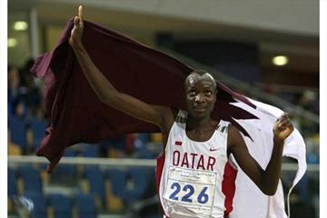 Ali Thamer of Qatar celebrates his 2008 Asian Indoor 1500m Champs victory (AFP/Getty Images)