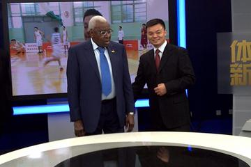 IAAF President Lamine Diack with Jiang Heping in one of the production studios at CCTV Tower (IAAF)