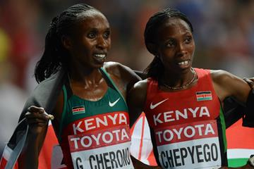 Kenya's Gladys Cherono and Selly Chepyego Kaptich (AFP / Getty Images)