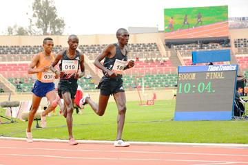Nicolas Kimeli on his way to winning the 5000m at the Continental Tour Gold meeting in Nairobi (Organisers)