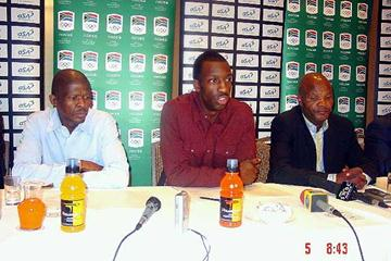 Banele Sindani,  Michael Johnson , Leonard Chuene at the South African clinic press conference (Mark Ouma)