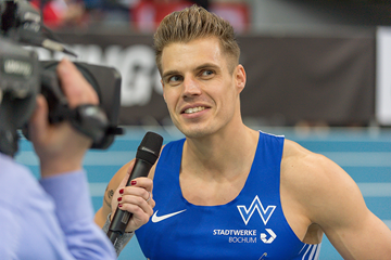 Julian Reus after winning the German indoor 60m title (Getty Images)