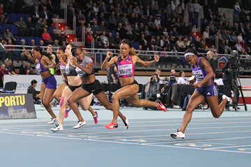 Barbara Pierre wins the 60m at the IAAF World Indoor Tour meeting in Torun (Jean-Pierre Durand)