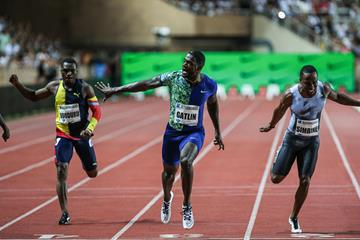 Justin Gatlin takes a narrow 100m win in Monaco (Philippe Fitte)