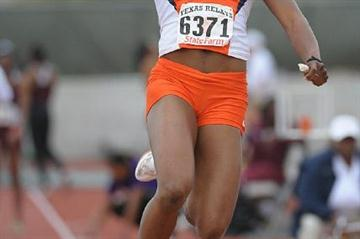 Blessing Okagbare of Nigeria sails a world-leading 6.88m at the Texas Relays (Kirby Lee)
