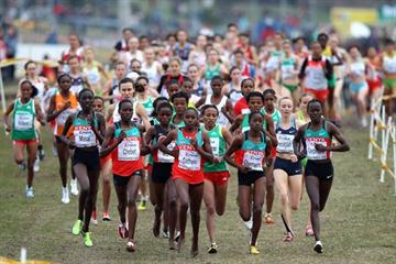 A general view of the women's senior race with eventual winner Emily Chebet (second from left) (Getty Images)
