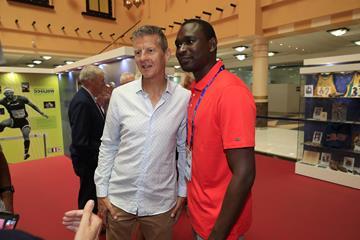 Steve Cram and David Rudisha at the IAAF Heritage Exhibition in Doha (IAAF)