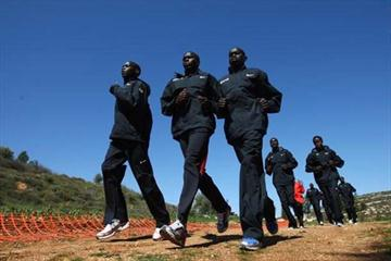 The Kenyan men's team during training ahead of the 37th IAAF World Cross Country Championships at the Bisharat Golf Club on 27 March 2009 in Amman, Jordan (Getty Images)