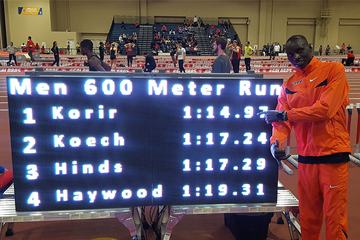 Emmanuel Korir after clocking a world indoor best for 600m in Albuquerque (UTEP)