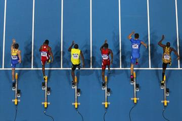 The men's 60m heats at the 2014 IAAF World Indoor Championships in Sopot (Getty Images)