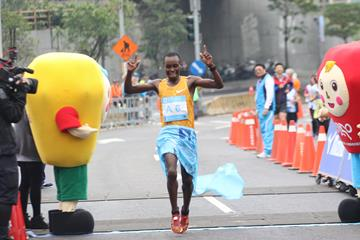 William Chebon Chebor winning the 2016 New Taipei City Wan Jin Shi Marathon (Organisers)