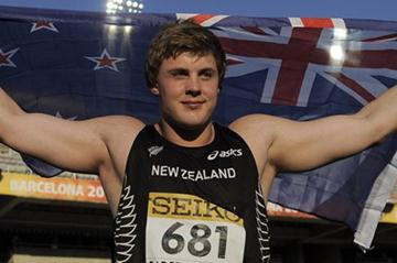 Jacko Gill of New Zealand celebrates after winning the gold medal in the men's Shot Put on the day two of the 2012 IAAF World Junior Championships (Getty Images)