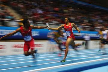 The US team in action in the 4x400m at the 2014 IAAF World Indoor Championships in Sopot (Getty Images)