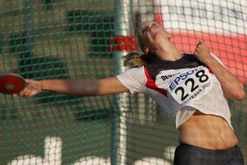 Julia Fischer of Germany on her way to gold in the Discus Throw final (Getty Images)