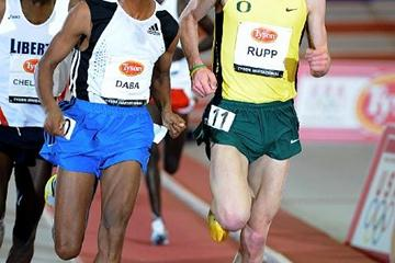 Ethiopian Bekana Daba (l) and Galen Rupp in the Fayetteville 5000m (Kirby Lee)