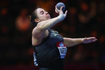 Anita Marton winning the shot put at the Muller Indoor Grand Prix in Birmingham (Getty Images)
