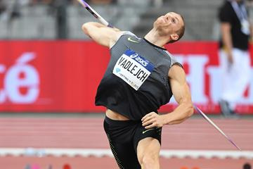 Jakub Vadlejch winning at the Diamond League meeting in Paris (Jiro Mochizuki)