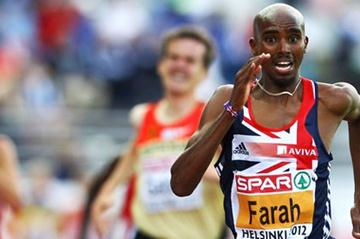 Mo Farah en route to his second consecutive European 5000m title (Getty Images)