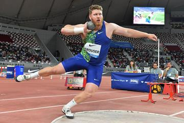 Ryan Crouser, winner of the shot put at the IAAF Diamond League meeting in Doha (Jiro Mochizuki)