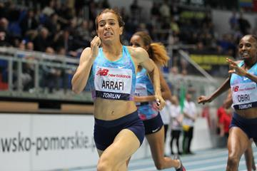 Rababe Arafi winning the 1500m in Torun (Jean Pierre Durand)