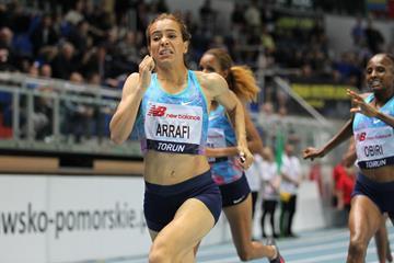 Rababe Arafi winning the 1500m in Torun (Jean Pierre Durand)