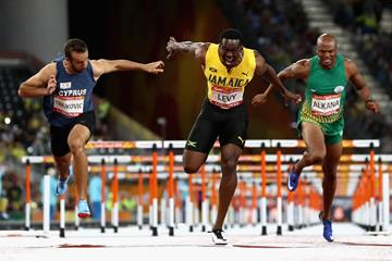 Ronald Levy leads a Jamaican 1-2 in the Commonwealth 110m hurdles (Getty Images)