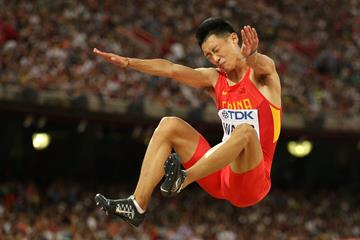 Wang Jianan in the long jump at the IAAF World Championships, Beijing 2015 (Getty Images)