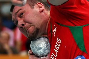 Andrei Mikhnevich of Belarus during the Shot Put final (Getty Images)