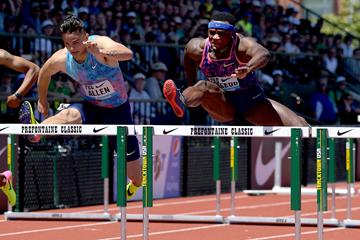 110m hurdles winner Omar McLeod at the IAAF Diamond League meeting in Eugene (Kirby Lee)