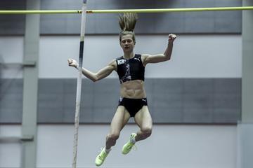 Slovenian pole vaulter Tina Sutej wins in Ostrava (ČAS / Adolf Horsinka)