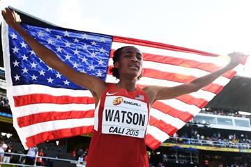 Girls' 800m winner Samantha Watson at the IAAF World Youth Championships, Cali 2015 (Getty Images)