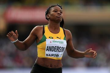 Britany Anderson after winning the 100m hurdles at the IAAF World U18 Championships Nairobi 2017 (Getty Images)