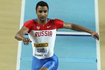 Lyukman Adams of Russia competes in the Men's Triple Jump qualification during day two - WIC Istanbul (Getty Images)