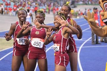 Holmwood's victorious girls' Class 3 4x100m relay quartet at the Jamaican high school championships (Leondro Marzo Photography)