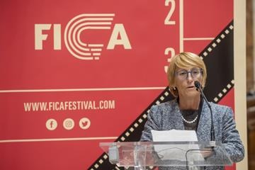 IAAF Council Member Anna Riccardi at the opening of the FICA International Athletics Film Festival in San Sebastian, Spain (Gari Garaialde/Getty Images for IAAF)
