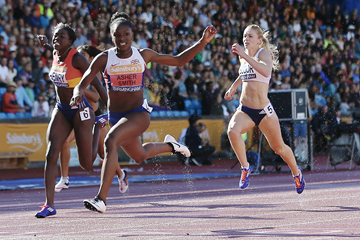 Dina Asher-Smith wins the British 100m title in Birmingham (Getty Images)