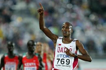 Saif Saaeed Shaheen of Qatar wins the 3000m Steeplechase in Helsinki (Getty Images)