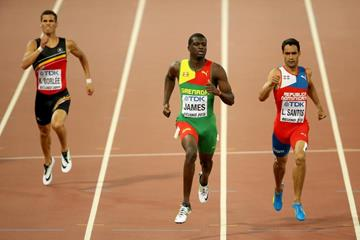 Kirani James wins his 400m semi-final at the IAAF World Championships, Beijing 2015 (Getty Images)