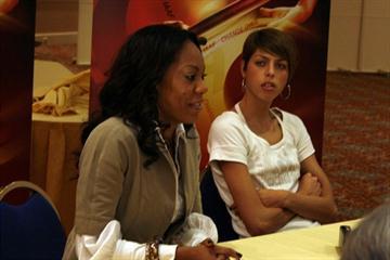 Sanya Richards and Blanka Vlasic meet with the media in Monaco (Bob Ramsak)