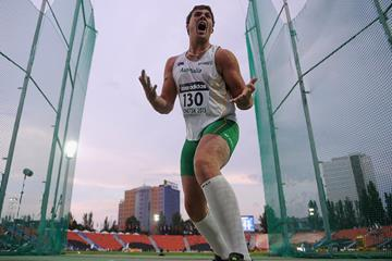 Australia's Matthew Denny celebrates his discus gold at the 2013 IAAF World Youth Championships (Getty Images)
